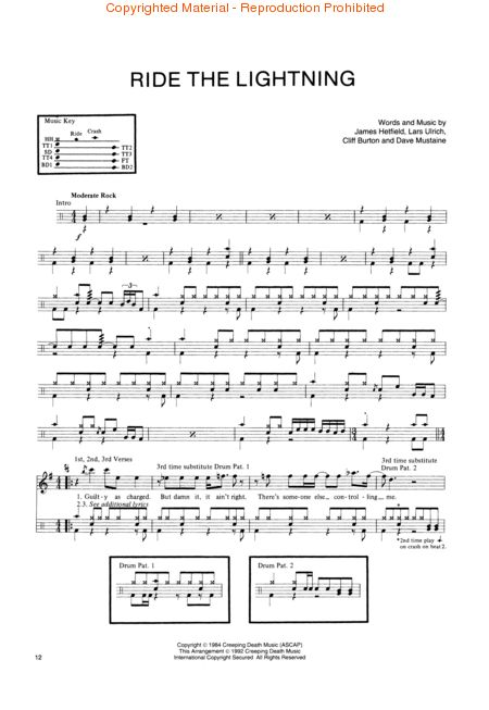 Drum metallica drum tabs : Drum : drum tabs for whom the bell tolls Drum Tabs For Whom along ...